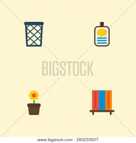 Set Of Workspace Icons Flat Style Symbols With Flowerpot, Id Badge, Wastebasket And Other Icons For
