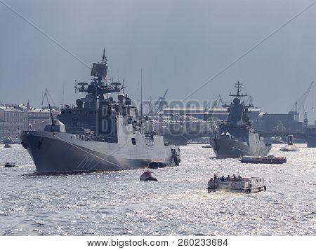St. Petersburg - August 12, 2018: The Newest Military Frigate Of The Black Sea Fleet - Admiral Makar