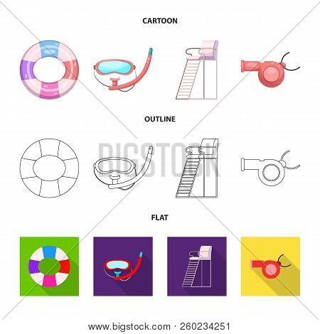 Vector Design Of Pool And Swimming Sign. Set Of Pool And Activity Stock Vector Illustration.