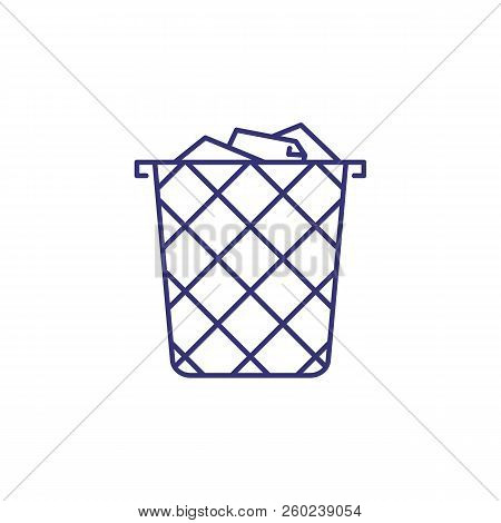 Wastebasket Line Icon. Trash, Paper, Metal. Office Supply Concept. Can Be Used For Topics Like Stati