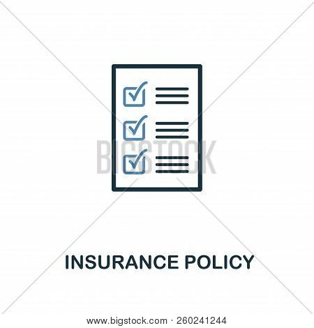 Insurance Policy Icon In Two Color Design. Line Style Icon From Insurance Icon Collection. Ui And Ux