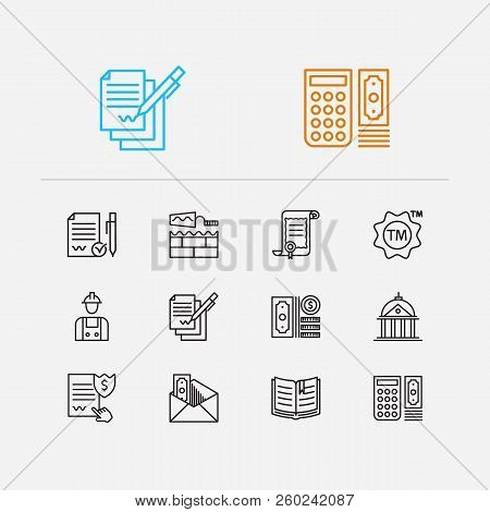 Court Icons Set. Court And Court Icons With Law, Business And Labor. Set Of Cover For Web App Logo U