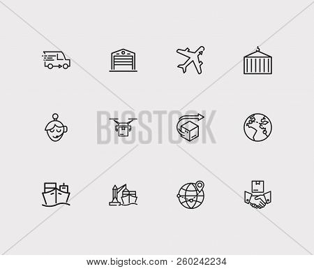 Cargo Icons Set. Logistics And Cargo Icons With Delivery Airplane, Ship Container And Drone Delivery