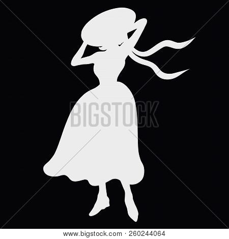 Silhouette Of Lady In Retro Dress And Hat, On Black Background, Windy