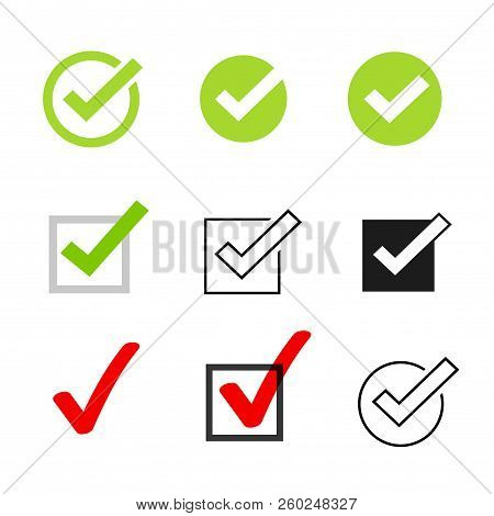 Tick Icons Vector Symbol Set, Checkmarks Collection Isolated On White Background, Checked Icon Or Co