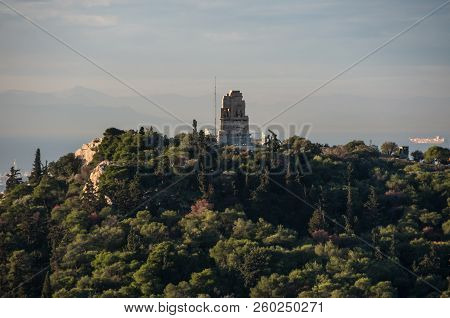 Athens,greece - December 27, 2017:   View To Monument Of Philopappos Form Acropolis Hill