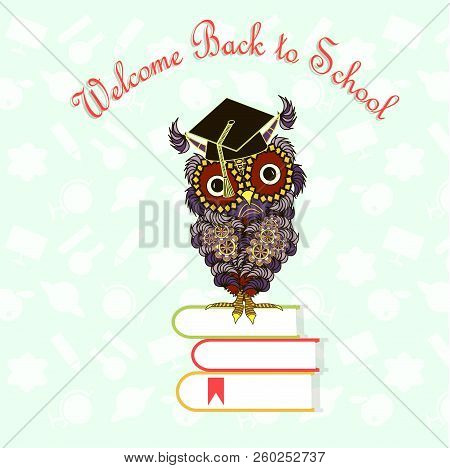 Red Lettering Welcome Back To School, Cartoons Cute Owl, Books Design Element Stock Vector Illustrat