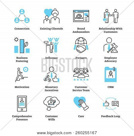 Relationship Marketing Icon Collection Set. Business Commercial Strategy Vector Illustration. Symbol