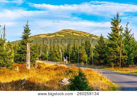 Tourist Road In The Middle Of Mountain Landscape, Giant Mountains, Krkonose, Czech Republic