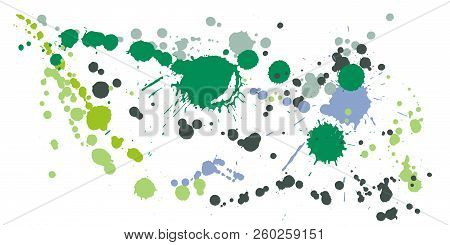 Watercolor Paint Stains Grunge Background Vector. Vintage Ink Splatter, Spray Blots, Dirty Spot Elem