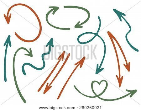 Hand Drawn Diagram Arrow Icons Vector Set. Up Down Marker Sketch Arrows, Right And Left Direction Po