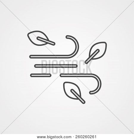 Wind Curve, Windy Weather Thin Line Icon. Linear Vector Illustration. Pictogram Isolated On White Ba