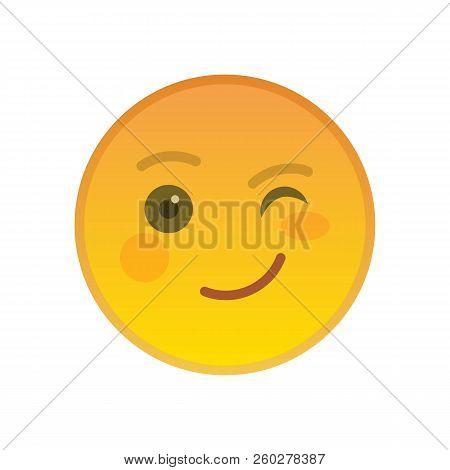 Winking Emoticon Isolated On White Background. Happy Yellow Emoji Symbol. Social Communication And I