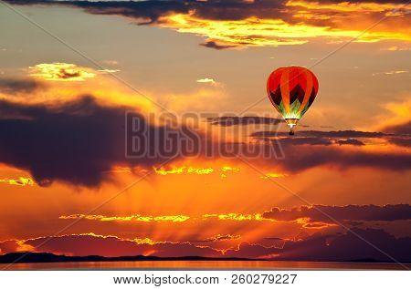 Sun Set At The Great Salt Lake, Utah