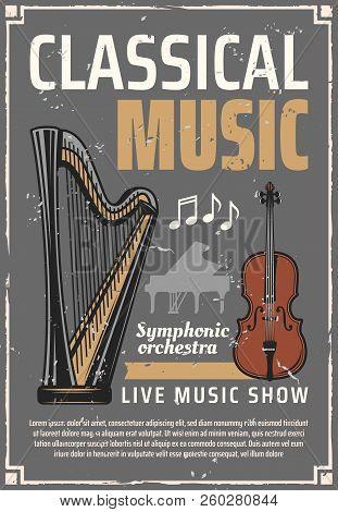 Classic Music Poster, Retro Musical Instruments. Live Concert, Harp And Italian Violin, Piano Silhou