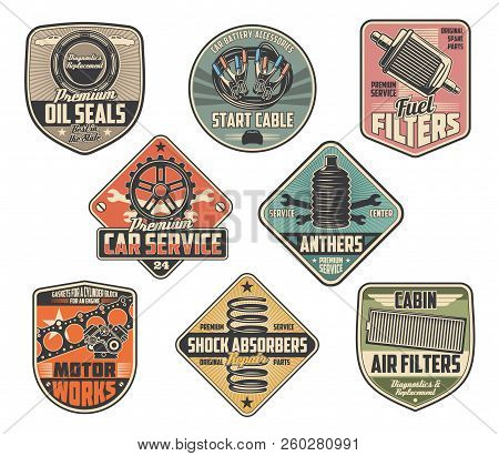Car Repairing Vector Retro Heraldry Icons. Oil Seals And Start Cable, Fuel Filter And Anthers, Motor