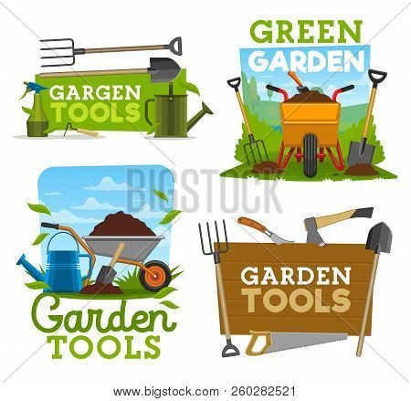 Gardening Tools And Equipment, Garden Work Isolated Icons. Shovel, Rake And Fork, Wheelbarrow With G