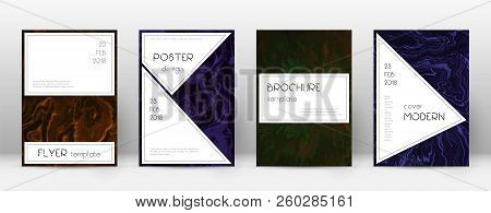 Abstract Cover. Dramatic Design Template. Suminagashi Marble Stylish Poster. Dramatic Trendy Abstrac
