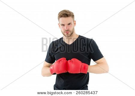 Every Day As Struggle. Sportsman Boxer With Gloves. Boxing Concept. Man Athlete Boxer Concentrated F