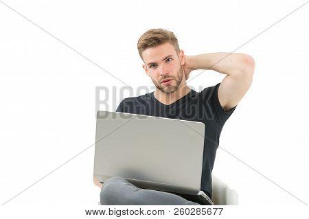 Man Work On Laptop. Man Run Trade Business. Business Before Pleasure. Shopping Addict Shopping Onlin