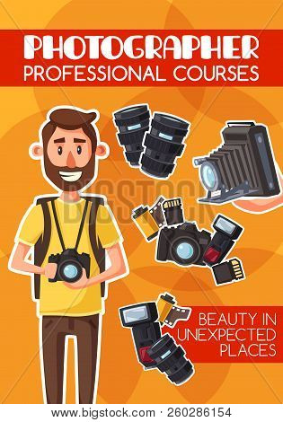 Photographer, Freelancer, Photojournalist, Professional Courses And Equipment. Man With Digital Came