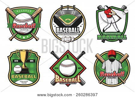 Baseball Sporting Heraldic Symbols With Crossed Bats And Balls, Trophy Cup And Uniform, Player And S