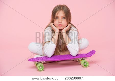 Kid Girl Relax Lean Penny Board. Modern Youth Hobby. Active Leisure Concept. Girl Lean On Penny Boar
