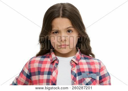 Let Me Think. Girl Doubtful Face Suspect Your. Child Has Doubts. Girl Casual Outfit Thoughtful Face