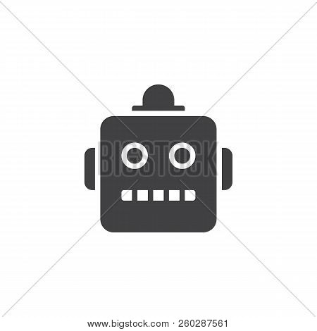 Robot Emoji Vector Icon. Filled Flat Sign For Mobile Concept And Web Design. Chatbot Smiley Simple S