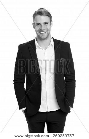 Man Happy Well Groomed In Formal Suit, Isolated White Background. Male Fashion Concept. Business Dre