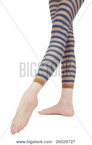 Long slim beautiful woman legs in striped pantyhose poster