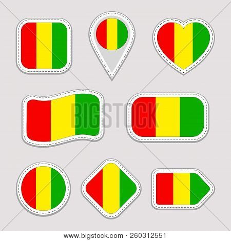 Guinea Flag Vector Set. Guinean Flags Stickers Collection. Isolated Geometric Icons. National Symbol