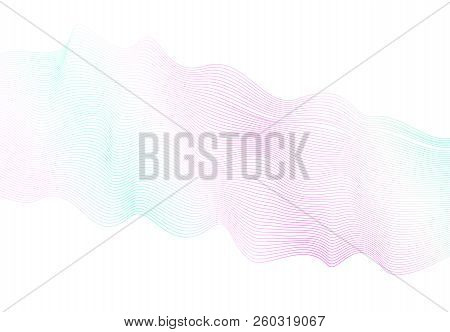 Light Pastel Wave Pattern On White Background. Vector Waving Glowing Lines. Pink, Aquamarine Soft Gr