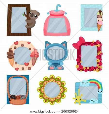 Collection Of Cute Photo Frames, Album Templates For Kids With Space For Photo Or Text, Card, Pictur