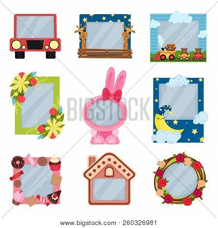Collection Of Cute Photo Frames For Boys And Girls, Album Templates For Kids With Space For Photo Or