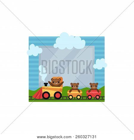 Cute Photo Frame With Toy Train, Album Template For Kids With Space For Photo Or Text, Card, Picture