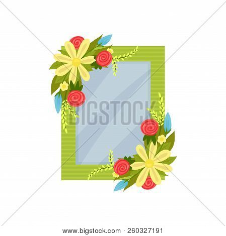 Cute Photo Frame With Flowers, Album Template For Kids With Space For Photo Or Text, Card, Picture F