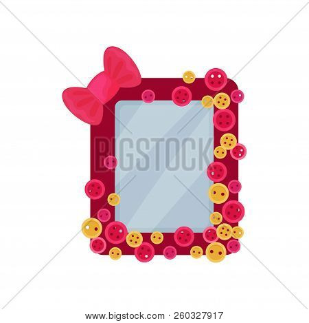 Cute Pink Photo Frame With Bow And Buttons, Album Template For Kids With Space For Photo Or Text, Ca