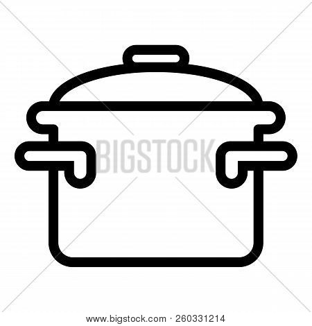 Casserole With Handles Line Icon. Cooking Pan Vector Illustration Isolated On White. Pot Outline Sty