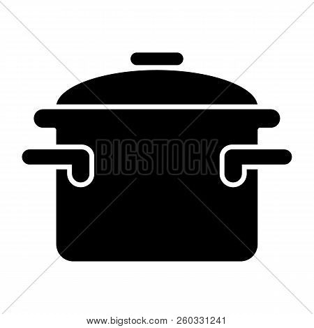 Casserole With Handles Solid Icon. Cooking Pan Vector Illustration Isolated On White. Pot Glyph Styl