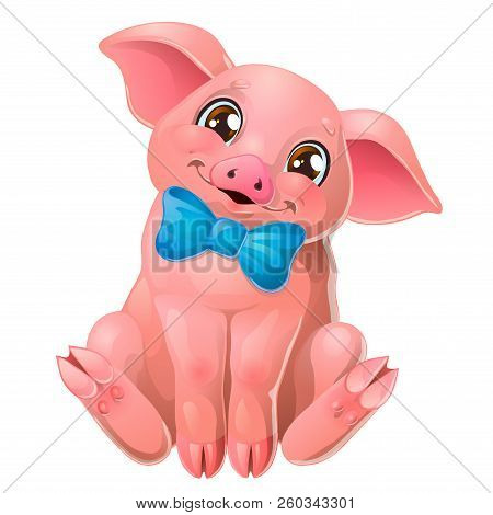 Cute Pink Pig With Bow Sits On White