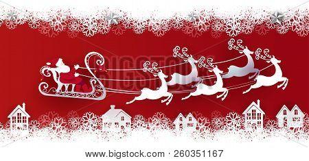 Santa Claus Ena Deers On The Sky Coming