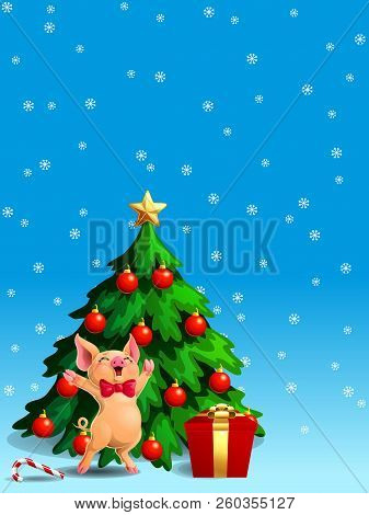 Joyful Yellow Pig Ang Fir Tree Vert