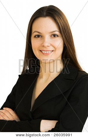 Young smiling woman in a business suit. Isolated on white background