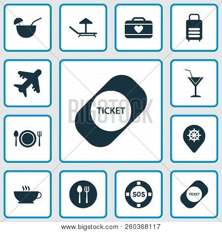 Journey Icons Set With Cutlery, Suitcase Female, Cocktail And Other Airplane Elements. Isolated Vect