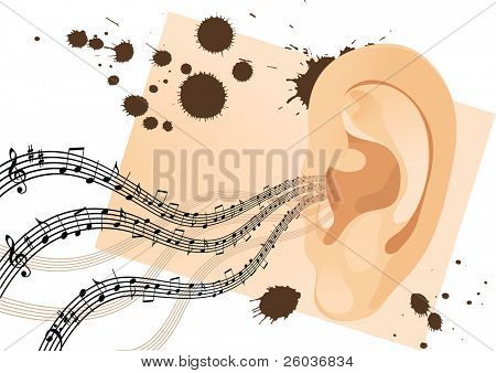 Grunge human ear with musical notes. Vector illustration poster