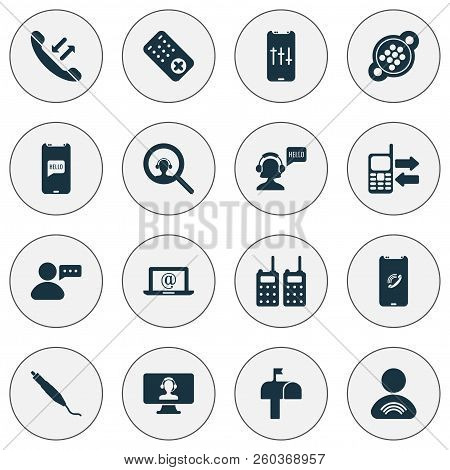Communication Icons Set With Mailbox, Communication Console, Audio Adjustment And Other Socket Eleme