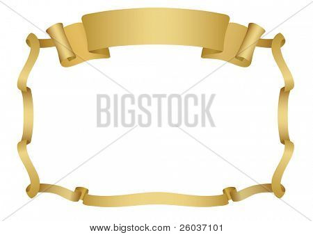 Signboard with ribbon. Vector Illustration.