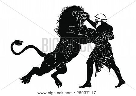 Hercules Defeats The Nemean Lion. 12 Exploits Of Hercules. Figure Isolated On White Background.