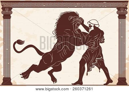 Hercules Defeats The Nemean Lion. 12 Exploits Of Hercules. Figure On A Beige Background With Aging E